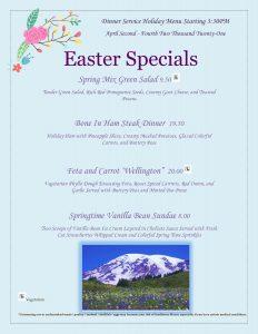 Easter 2021 Formal Menu - Dinner